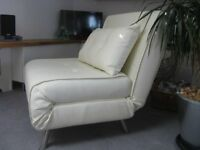 Single sofa bed/chair - cream leather look