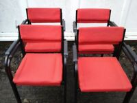 Setof 8 red Material office/reception chairs £5 EACH OR £35 For 8