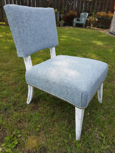 NEWLY UPHOLSTERED SIDE / VANITY CHAIR.