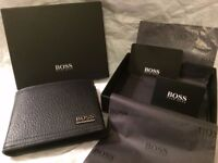 "HUGO BOSS ""MANPRIO"" SOFT BLACK GRAINED LEATHER BI-FOLD WALLET WITH BOSS PRESENTATION BOX"