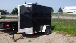 ENCLOSED V-NOSE 5X8 CARGO TRAILER WITH RAMP DOOR!