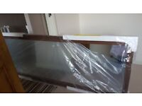 Full Length Mirror Walnut Effect Sliding Wardrobe Door (H)2220 mm (W) 762 mm