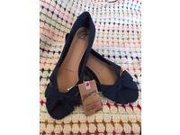 Blue Flat Ballet Shoes Pumps Size 7