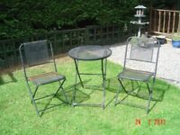 Black Metal Garden Bistro Table and Two Matching Chairs. Can Deliver.
