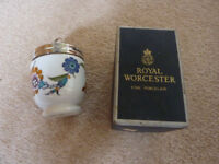 Very beautiful Royal Worcester porcelain egg coddler in original box and with original instructions