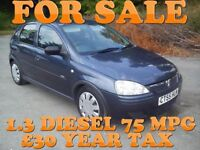 "05 Vauxhall Corsa "" 1.3 Diesel ""£30 Tax 75Mpg Recent major service clio 206 astra c1 polo lupo micra"