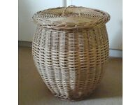 natural wicker/cane laundry basket with lid, excellent condition