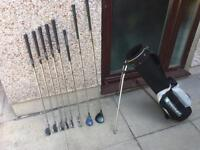 Golf clubs set of irons, driver, wood, putter & bag. Bargain