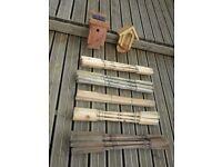36 Decking Spindles , Hardwood BirdBox and Bird Feeder