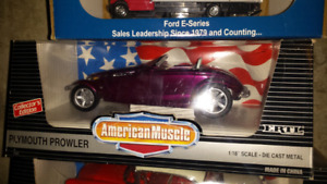 Die cast cars and trucks
