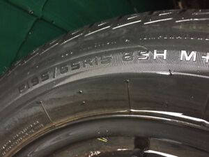Four mounted tires on Honda Civic rims