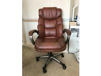 brown leather look swivel chair