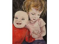 Custom Portrait Painting Available Art Commission - People and Pets - Different Sizes Available
