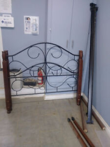 Double bed headboard, footboard, frame, 4 posts