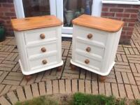 Solid pine bedside cabinets x2