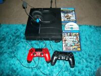 PS4 CONSOLE, 2 GAMES ,2 CONTROLLERS AND HEADSET