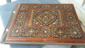 VINTAGE RARE FIND PHOTO ALBUM WOOD INLAY MOTHER OF PEARL BEADS