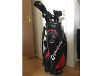 Taylormade golf clubs; full set and bag