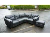 Black leather corner sofa+ automan