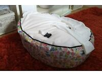 Baby bean bag with three part harness