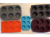 5 x silicone baking moulds
