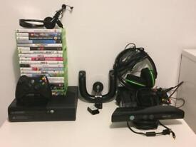 Xbox 360, turtle beach headset, kinnect sensor, Xbox steering wheel, 1 controller and 20+ games