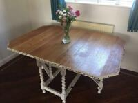 Shabby Chic solid oak drop leaf dining table