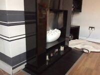 Black gloss electric fireplace
