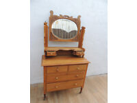 Antique chest with mirror on castors Satinwood restored (Delivery)