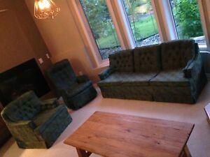 Antique living room set - chair, rocker, sofa