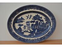 6 x Willow pattern Fish platters - Johnson Bros. England