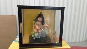 Japanese Boy Statue in Glass Box, Artist Signed