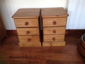 Pine bedside cabinates with draws x2