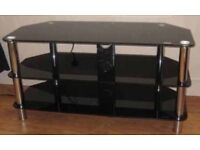 Black glass tv unit, in good condition