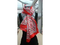 Ladies Scarf Red and White.