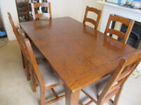 6ft extending to 8ft reclaimed pine dining table with six chairs