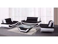 NEW NAPOLI LEATHER 3+2+1 SEATER SOFA + COFFEE TABLE IN BLACK/WHITE, BROWN/CREAM OR WHITE/GREY