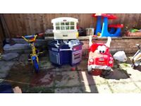 Outdoor toys 2-5y(bike with helmet, quad, drawing table, LittleTikes Kitchen, LittleTikes car, etc)