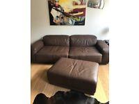 Vitra leather Sofa Set with stool
