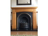 Solid oak fireplace and gas fire SOLD