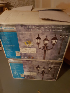 3 HEAD POST LANTERN FOR OUTDOOR USE.