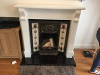 Cast Iron Tiled Fireplace and Wooden Mantelpiece