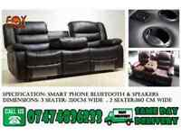 Smart recliner sofa with bluetooth aux speaker,and cupholder iM