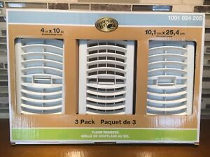 "Hampton Bay 3 Pack Louvered White Floor Register Vents - 4""x10"""