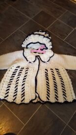 Baby girls newborn/6months knitted navy and white cardigan and bonnet