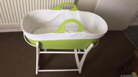 Moba Moses Basket and Stand plus 4 sheets