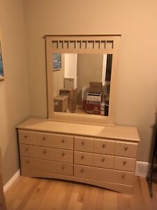 Used dresser with one nightstand and mirror.
