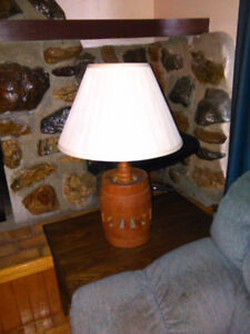 Two lamps, coffee tables, love seat and chair