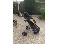 Golf set bag trolley clubs balls and tee,s good condition , Hardley used five years old ,