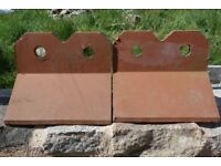 Crested ridge tiles x 2.